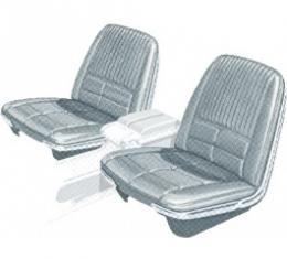 Ford Thunderbird Front Bucket & Rear Bench Seat Covers, Full Set, Vinyl, Light Silver Mink (Silver Blue) #27, Trim Code 21, Without Reclining Passenger Seat, 1966