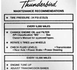Ford Thunderbird Glove Box Decal, Tire Pressure, 1962-63