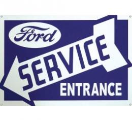 Ford Service Entrance Sign, Single Sided, Arrow Points Left, 34 x 20