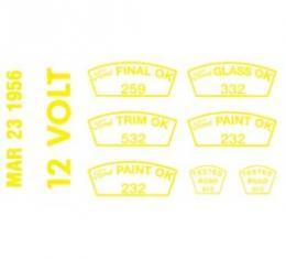 Ford Thunderbird Paint OK Decal Set -12 Volt, 3-23-56
