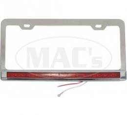 License Plate Frame, Stainless with Red LEDs and Lens