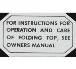 Ford Thunderbird Glove Box Decal, Folding Top, 1955-57