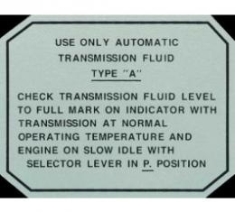 Ford Thunderbird Glove Box Decal, Automatic Transmission, 1955-57