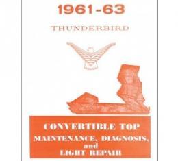 1961 1963 -63 Convertible Top Repair & Adjustment Manual, 16 Pages