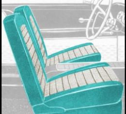 Ford Thunderbird Front Bucket Seat Covers, Vinyl, Turquoise #11 & White #2, Trim Code 7X, 1959