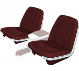 Ford Thunderbird Front Bucket Seat Covers, Vinyl, Red #49, Trim Code 25, Without Reclining Passenger Seat, 1966