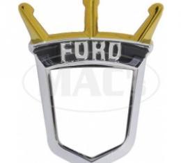 Ford Thunderbird Gas Door Emblem Bezel, Chrome, Ford Crest, 1955-56