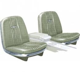 Ford Thunderbird Front Bucket & Rear Bench Seat Covers, Full Set, Vinyl, Light Ivy Gold (Green) #48, Trim Code 28, Without Reclining Passenger Seat, 1965