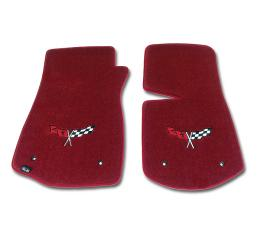 Corvette Mats, Red with Flags Applique, 1968-1982