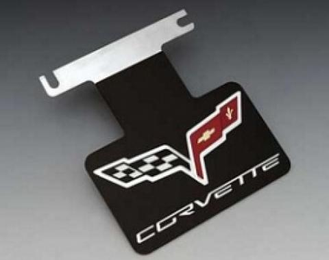 Corvette Exhaust Enhancer Plate, Stainless Steel, With Black Background, Crossed-Flags Logo & Corvette Word, 2005-2013