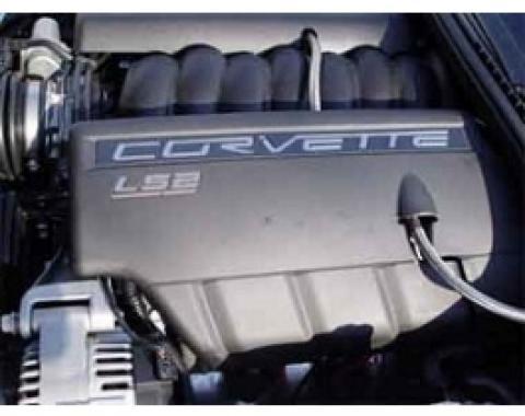 Corvette LS2 Fuel Rail Cover Letter Set, Acrylic, Chrome, 2005-2007
