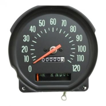 Chevelle Speedometer, With Green Numbers, Super Sport (SS), for Cars With Column Shift Transmission, 1970