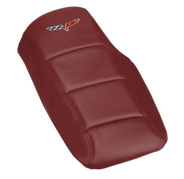 Corvette Console Cushion, with Embroidered C6 Logo, Magnetic Red, 2005-2013