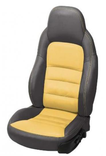 Corvette 2-Tone Leather Standard Seat Covers, Ebony/Velocity Yellow, 2005-2013
