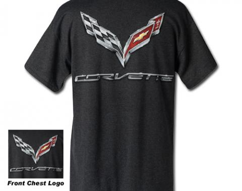 Corvette C7 Corvette Logo Flag T-Shirt, Charcoal