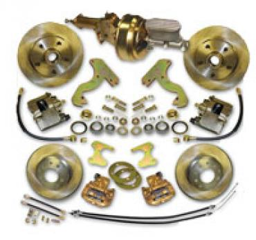Corvette Complete Front and Rear Disc Brake Conversion Kit, Zero Offset with Power Brake Booster, 1953-1962