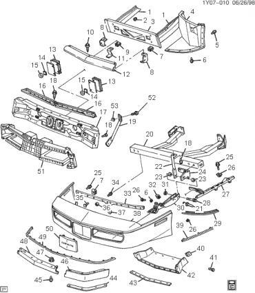 Corvette Front Bumper Impact Bar Mounting Stud, 1984-1990