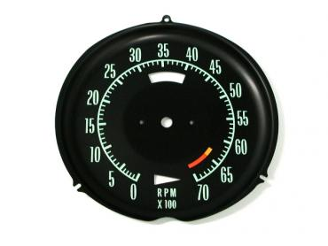 Corvette Tachometer Face, 6500 Redline, 1968-1971