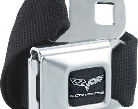 Corvette Seatbelt Belt, Black with C6 Logo