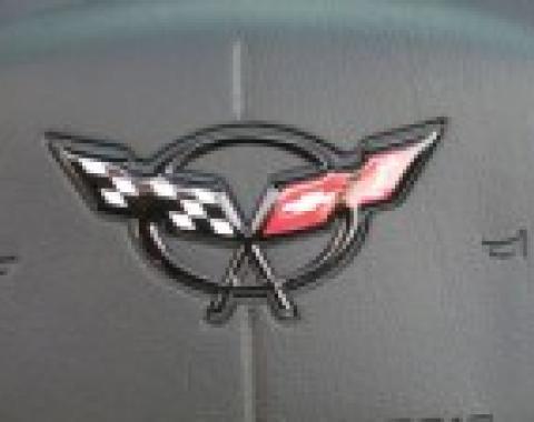 Corvette Steering Wheel Emblem, Domed Blue, 1997-2004