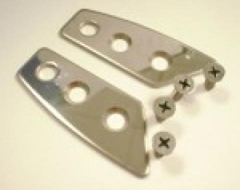 Corvette Roof Lock Pin Trim Plates, Stainless Steel, 1968-1977