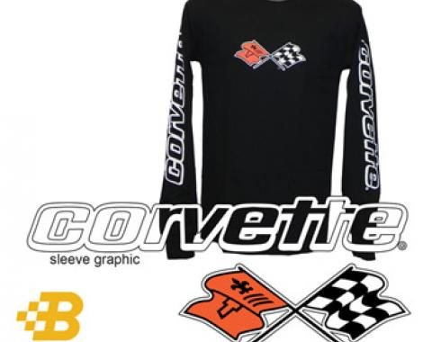 C3 Corvette Black Long Sleeved Shirt with Script on Sleeves