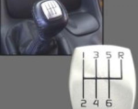 Corvette Shift Knob Button Brush Aluminum Cover, 6 Speed, 1997-2004