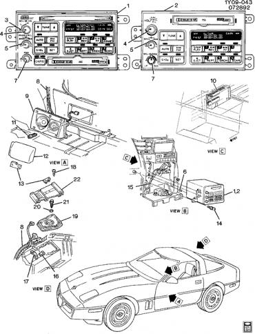 Corvette Radio Knob, Volume, 1994-1996