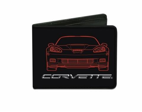 Corvette Bi-Fold Wallet with C6 Blueprints Front & Rear