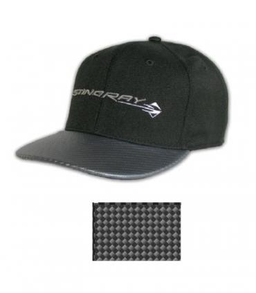 Corvette C7 Horizontal Stingray Fitted Cap with Silver Simulated Carbon Fiber Bill
