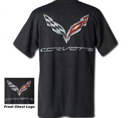 Corvette C7 Corvette Logo Flag T-Shirt, Charcoal