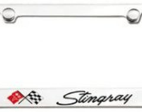 Corvette Elite License Frame, 69-76 Stingray Script with Single Logo