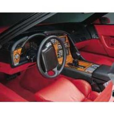 Corvette Dash & Trim Kit, For Cars With Automatic Transmissions, Rosewood, 1990-1991