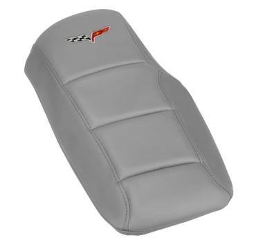 Corvette Console Cushion, with Embroidered C6 Logo, Steel Gray, 2005-2013