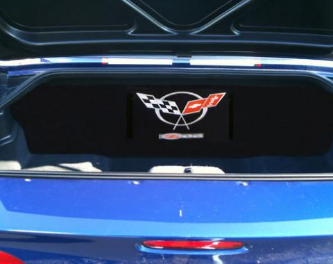 "Corvette Compartment Divider, With Carpet & Z06 Logo, ""Quiet Ride"", 2001-2004"