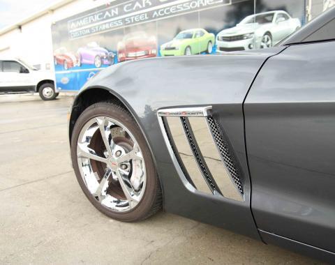 American Car Craft Chevrolet Corvette 2010-2013  Fender Trim Plates Polished 042084