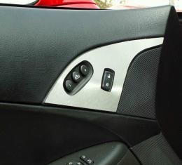American Car Craft 2005-2013 Chevrolet Corvette Door Lock Trim Plate Satin w/option button 2pc 041021
