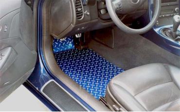 American Car Craft 2005-2013 Chevrolet Corvette Floor Mats Show Diamond Plate Blue 041006