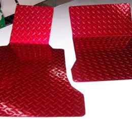 American Car Craft 2005-2013 Chevrolet Corvette Floor Mats Show Diamond Plate Red 041002