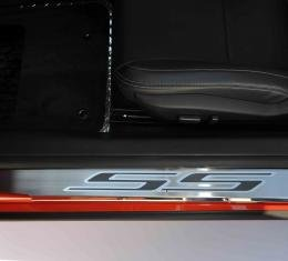 2010-2015 Camaro - Outer Door Sills with 'SS' Inlay 2Pc - Stainless Steel, Choose Color Inlay 101003