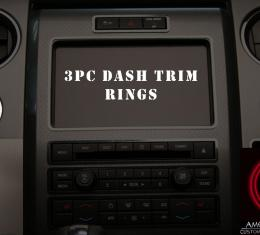 American Car Craft 2010-2014 Ford F-150 Dash Trim Rings Headlight/4WD/12V Satin 3pc 771011