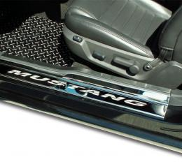American Car Craft Doorsills Polished w/ Satin Stainless Tops 4pc Etched Mustang 271004