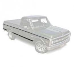 Chevy Truck Body Molding Kit, Upper & Lower, Short Bed, Fleet Side, Black, With Clips, 1969-1972
