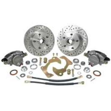 Chevy Truck Disc Brake Kit, Front, At The Wheel, Drilled & Slotted Rotors, 5 On 4-3/4 Bolt Pattern, 1963-1970