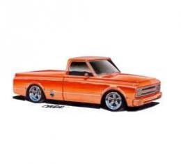 Limited Edition Print, Chevy C-10 Truck, Orange, 1967