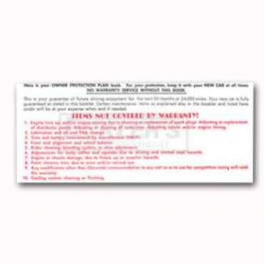 Chevy And GMC Truck Glove Box Warranty Card, 1965-1969