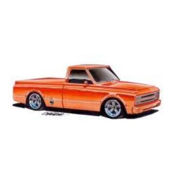 Limited Edition Print, Chevy C-10 Truck, Orange, 1967