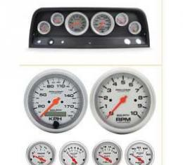 Chevy Truck Instrument Cluster, Carbon Fiber, With Ultra-Lite Autometer Gauges, 1964-1966