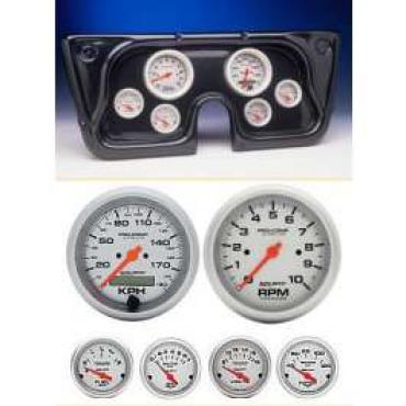 Chevy Truck Instrument Cluster, Carbon Fiber, With Autometer Ultra-Lite Gauges, 1967-1972