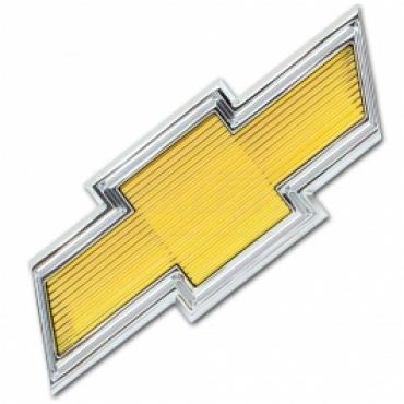 Chevy Truck Grill Emblem, Yellow Bowtie, Chrome 1975-1979